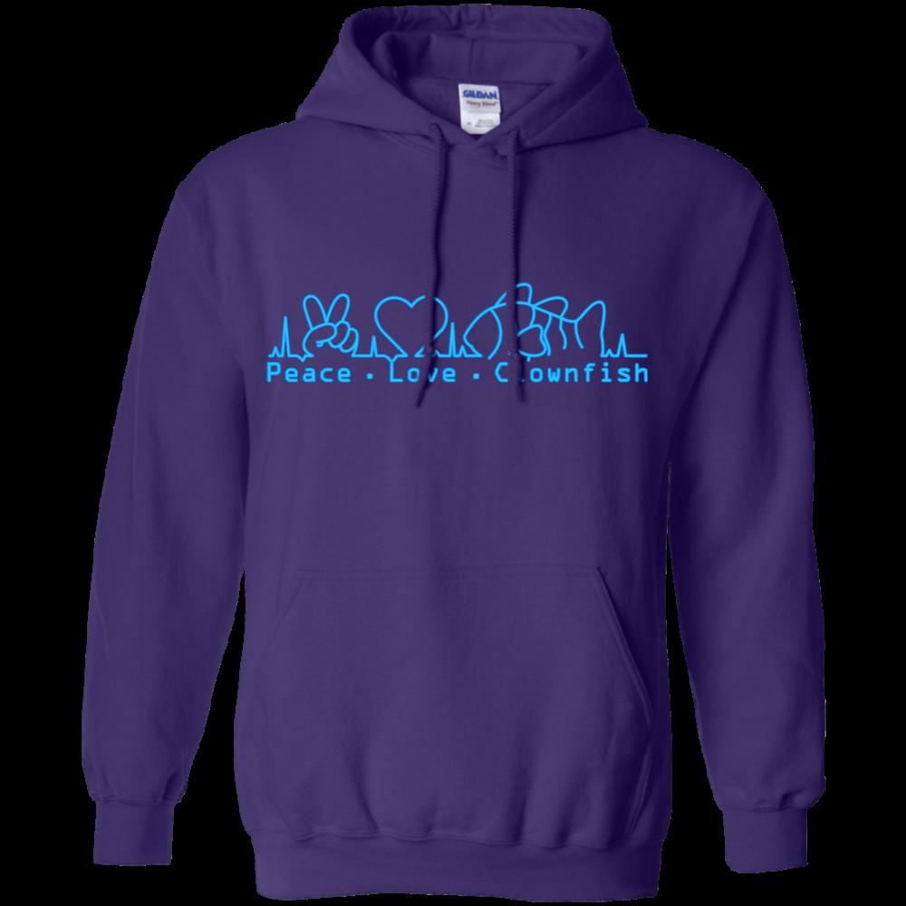 Peace, Love, Clownfish Hoodie - color: Purple