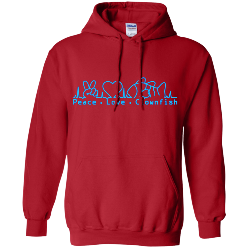 Peace, Love, Clownfish Hoodie - color: Red