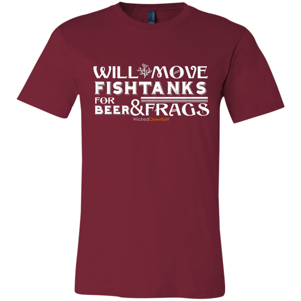 Will Move Fishtanks for Beer & Frags T-Shirt - color: Cardinal