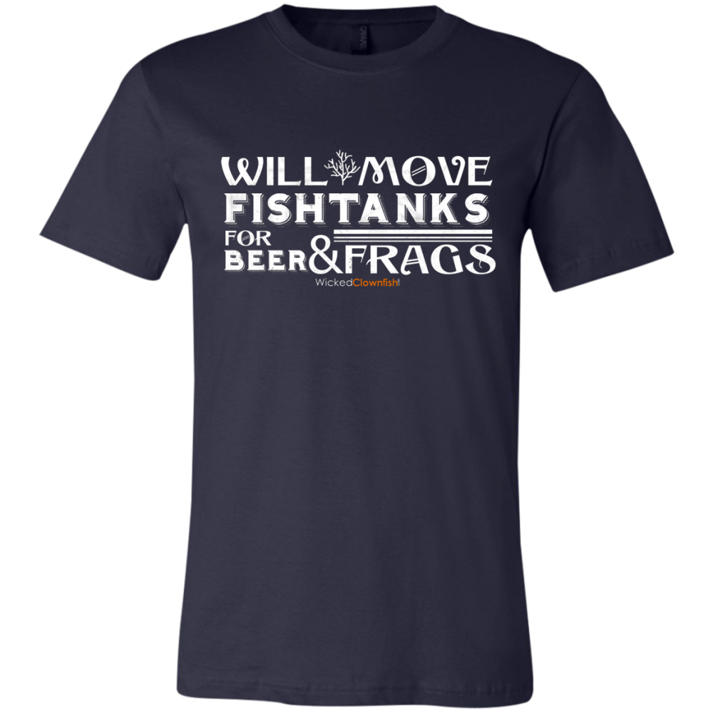 Will Move Fishtanks for Beer & Frags T-Shirt - color: Navy