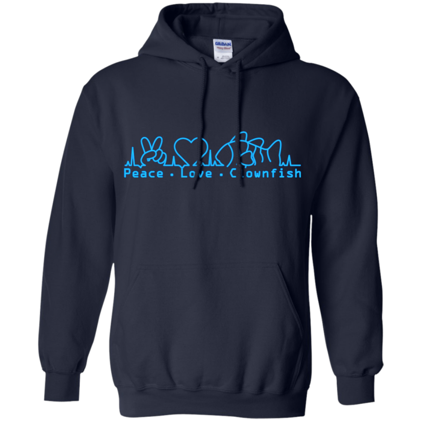 Peace, Love, Clownfish Hoodie - color: Navy