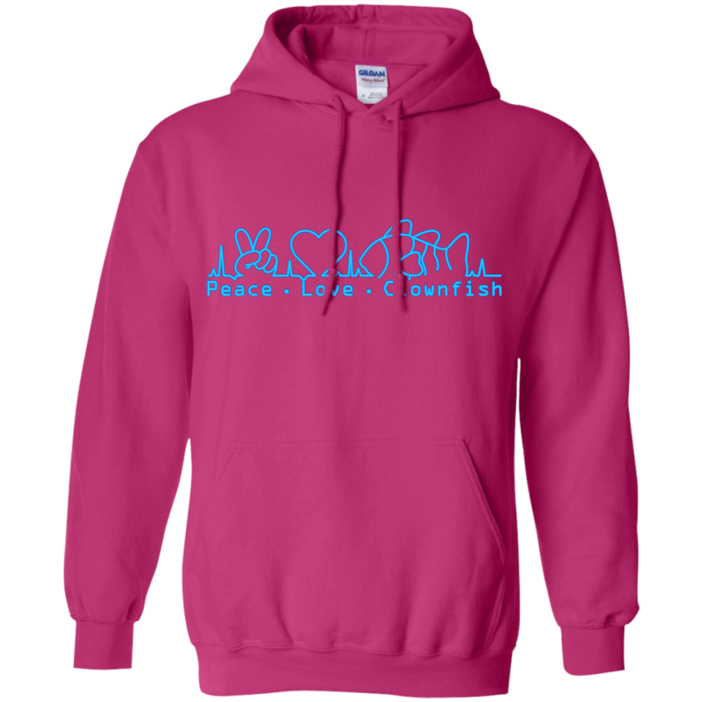 Peace, Love, Clownfish Hoodie - color: Heliconia